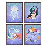 Silly Goose Gifts Bedroom Nursery Mermaid Sea Ocean Themed Wall Art Decor Decoration (Mightier Than)