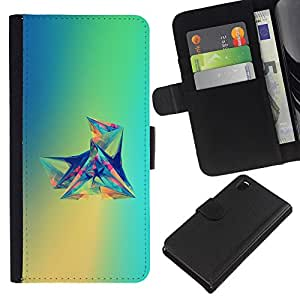 KLONGSHOP // Tirón de la caja Cartera de cuero con ranuras para tarjetas - Verde Polígono Diamond Forma Azul - Sony Xperia Z3 D6603 //