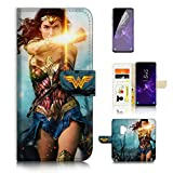 ( For Samsung S9+ / Galaxy S9 Plus ) Flip Wallet Case Cover & Screen Protector Bundle - A21369 Wonder Woman