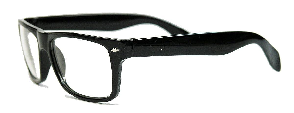Unbekannt Klassische Nerdbrille schwarz clear lens eckig Damen Herren Streberbrille