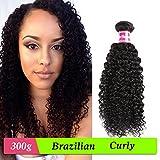 Isee Hair Brazilian Curly Virgin Hair 3 Bundles 100% Unprocessed Virgin Brazilian Human Hair Extensions 285-300 Grams Total Full Head Natural Color 12inches