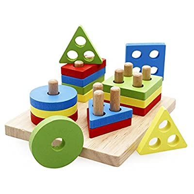 Rolimate Wooden Educational Preschool Shape Color Recognition Geometric Board Block Stack Sort Chunky Puzzle Toys, Birthday Gift Toy for age 3 4 5 Years Old and Up Kid Children Baby Toddler Boy Girl