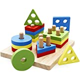 rolimate Wooden Educational Shape Color Recognition Geometric Board Block Stack Sort Chunky Puzzle Toys, Birthday Gift Toy for Age 3 4 5 Years Old and Up Kid Children Baby Toddler Boy Girl (W-e-1)