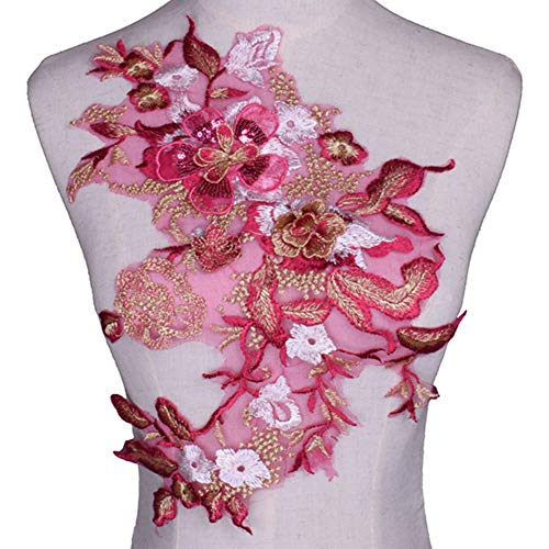3D Flower Embroidery Sequins Applique Cloth Patches Hand Sewn Patch No Glue Sewing Accessory DIY for Dress Wedding (Pink)