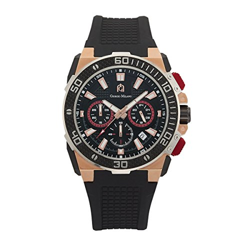 Giorgio Milano 107RGBK32 IP rose gold Stainless Steel Chronograph Watch, carbon fiber design - Elegance Chronograph