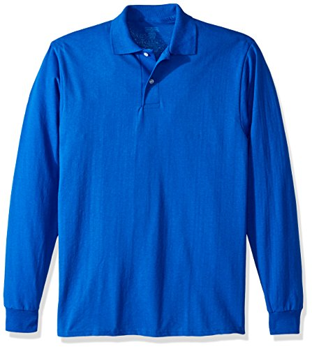 Jerzees Men's Spot Shield Long Sleeve Polo Sport Shirt, Royal, - Shield Spot