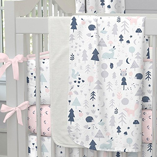 Carousel Designs Pink and Navy Baby Woodland Crib Blanket