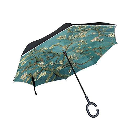 Van Gogh Umbrella - ALAZA Double Layer Inverted Van Gogh Almond Umbrella Cars Reverse Windproof Rain Umbrella for Car Outdoor With C Shaped Handle
