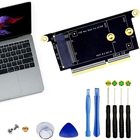 """A1708 SSD Adapter NVMe M.2 NGFF DIY Upgrade Kit Compatible with 2016 2017 13"""" Non-Touchbar MacEbook Pro, Free Tools Included"""