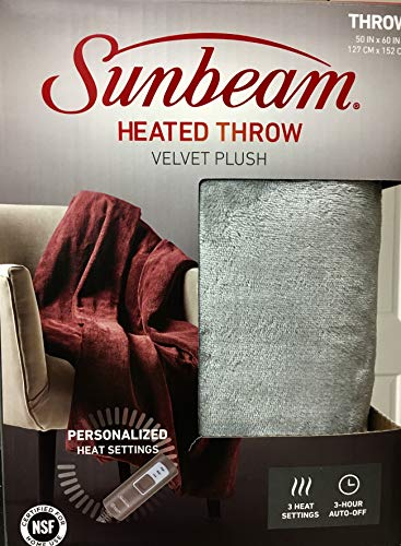 Electric Warming Throw Blanket - Sunbeam Velvet Plush Electric Heated Throw with 3 Heat Settings and Auto-Off, Machine Washable (Silver Grey)