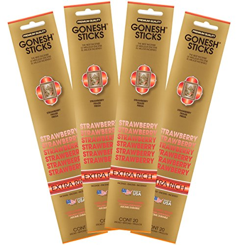 (Gonesh Collection Strawberry - 4 Pack-Extra Rich Incense, 4)