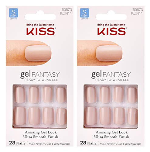 2-PACK Kiss Gel Fantasy KGN11 (TIGHT FIT) Short Nails w/Adhesive Tabs & Glue