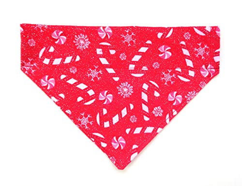 Glittery Flannel Candy Canes Bright Red Festive Dog Bandana, Slip-On No-Tie Doggie neckwear Petwear, Holiday Pet over the collar reversible dogwear (Bandana Collar Dog)