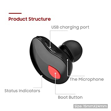 Sausire Mini Auricular Bluetooth,In Ear Auriculares Inalámbrico Invisible Bluetooth 4.1 y EDR con USB Magnéticos Manos Libres para coche y iPhone Samsung ...