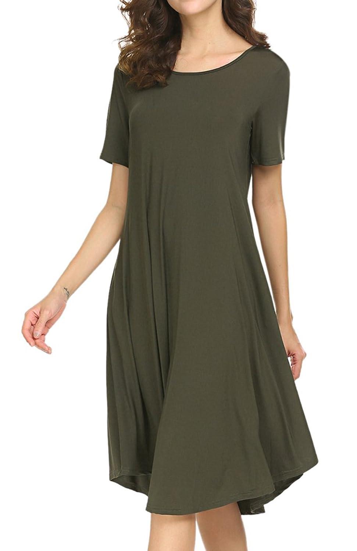 63e4fb29736 Amazon.com: Locryz Womens Short Sleeve Pocket Casual Loose Swing Midi T Shirt  Dress: Clothing