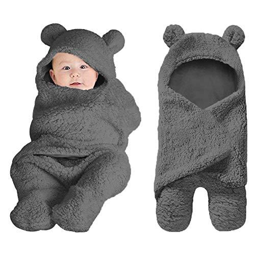 XMWEALTHY Cute Baby Items Newborn Plush Nersery Swaddle Blankets Soft Infant Girls Clothes Dark Grey