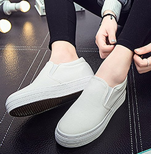 IDIFU Womens Heighten High Platform Canvas Shoes Slip On Sneakers White PgrxZmNRc