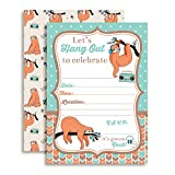 Silly Sloth Birthday Party Invitations, Ten 5''x7'' Fill In Cards with 10 White Envelopes by AmandaCreation