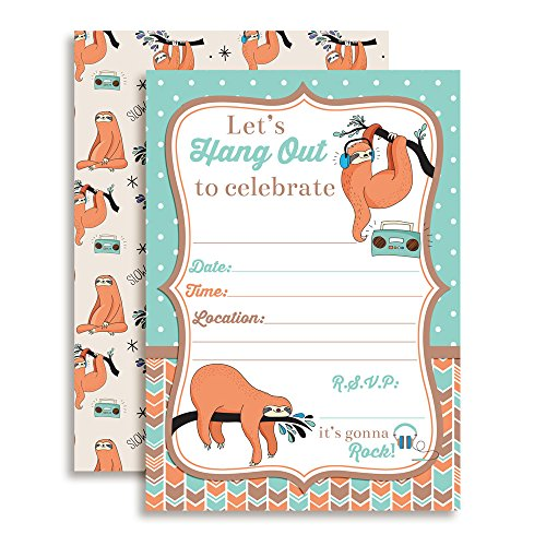Silly Sloth Birthday Party Invitations, Ten 5''x7'' Fill In Cards with 10 White Envelopes by AmandaCreation by Amanda Creation