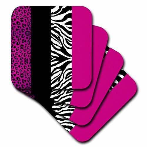 3dRose cst_35436_3 Pink Black and White Animal Print-Leop...