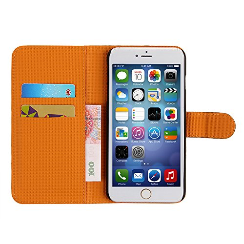 iphone 6 Wallet Cover Case,ieasysexy Novelty Snow Leopard Series Card and Cash Slots with Magnetic Closure Protector for Apple iphone 6 With 4.7 inches(Brown)