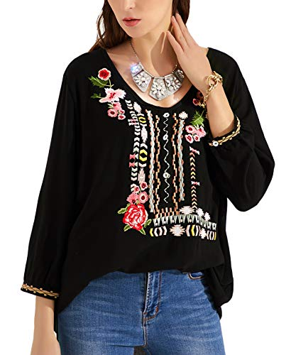 Mansy Womens Embroidered Boho V Neck Loose Mexican Peasant Shirts Vintage Tops Blouses Black