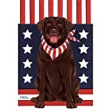 Cheap Best of Breed Labrador Retriever (Chocolate) Patriotic Breed Garden Flag