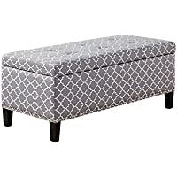 Madison Park Tessa Grey Tufted Top Storage Bench