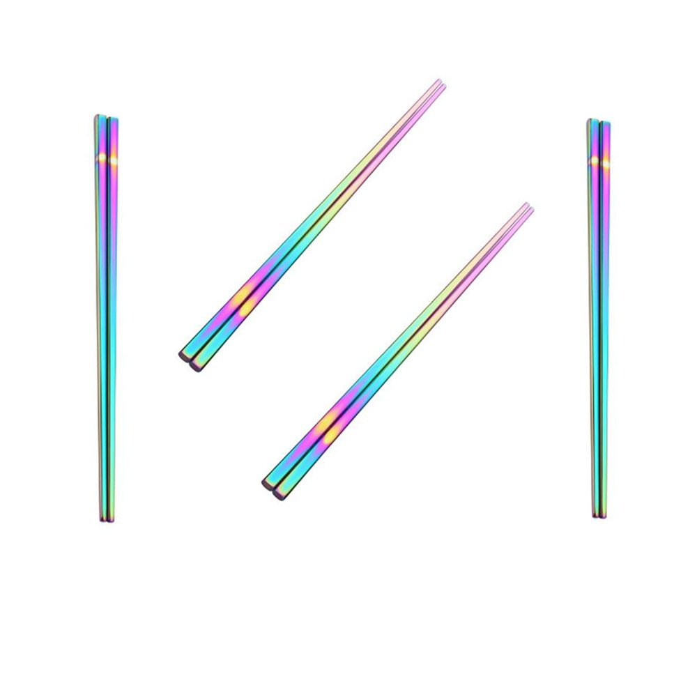 Koolemon 4pairs Rainbow 304 Stainless Steel Chopsticks Polished Multicolor Reusable Chopsticks,Metal Square Chopsticks, Traditional Chinese Chopstix,9.5inch