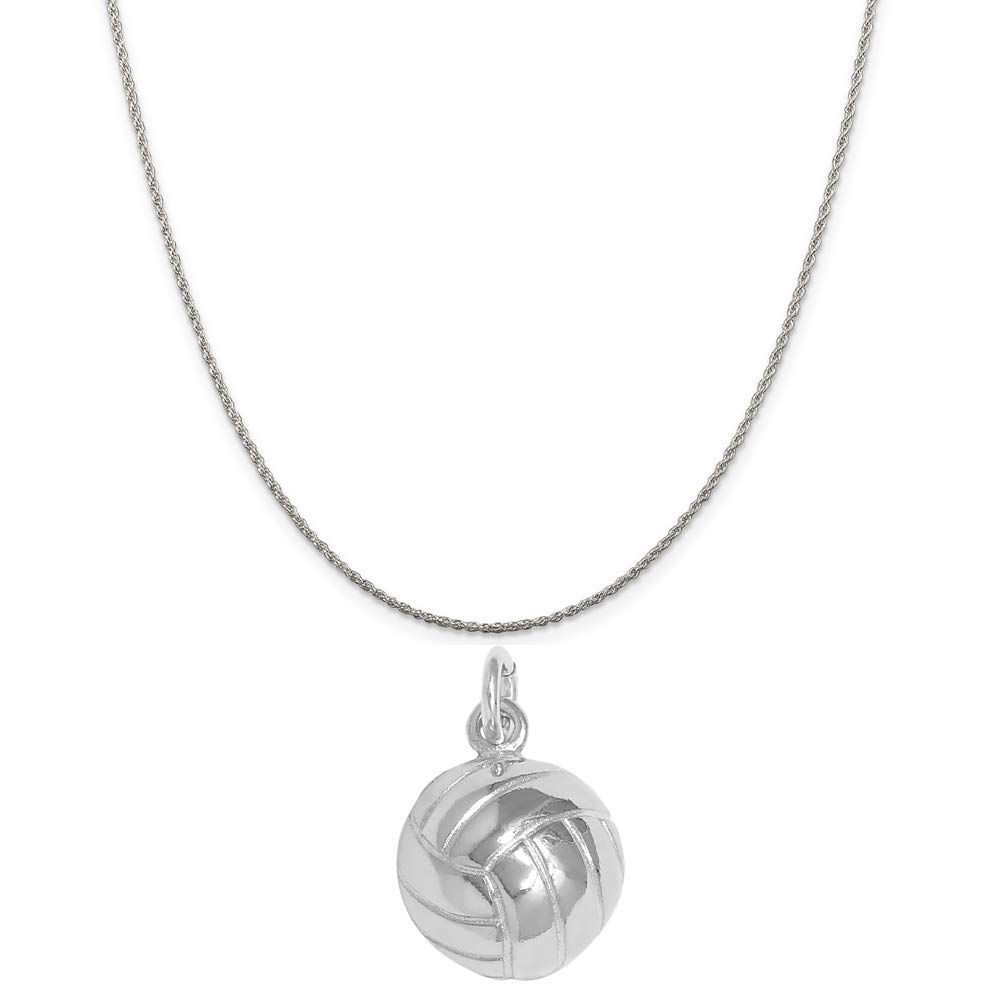 Raposa Elegance Sterling Silver Volleyball Ball Charm Necklace 16, 18 or 20 Chain