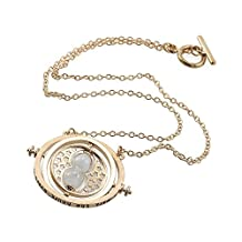 Heddi Cool Women's Girl's Gold Tone Necklace Round Rotating Hourglass Pendant Necklace For Gift