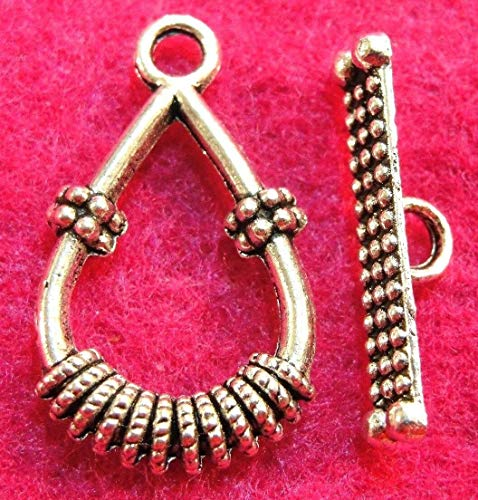 (10Sets Tibetan Silver Teardrop Toggle Clasps Connectors Hooks 9)