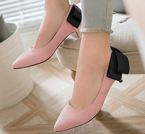 Pointue Nœud Heel Chaussure Avec Femme Easemax Rose Mignon Escarpins Kitten tCqXx4F8nw