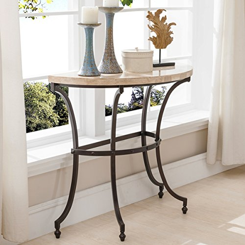 (KD Furnishings Demilune Travertine Stone Top Console Table with Rubbed Bronze Metal Base)