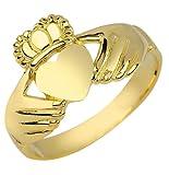 High Polish 10k Yellow Gold Claddagh Ring (Size6.5)