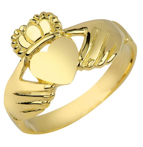 High Polish 10k Yellow Gold Claddagh Ring (Size 6)