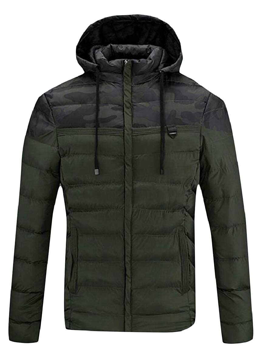 HTOOHTOOH Mens Camouflage Patchwork Hooded Quilted Winter Thicken Down Jacket Coat