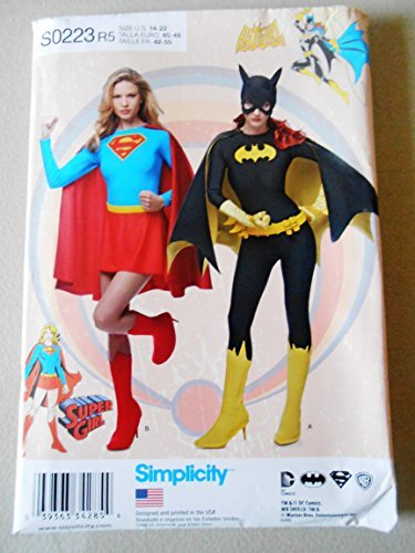 Simplicity 0223 Batgirl Supergirl Sewing Pattern Misses Costumes Size 14-22