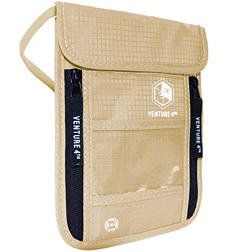 Venture4th Passport Holder Neck Pouch With RFID Blocking - Hidden Neck Wallet (Beige)
