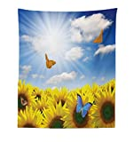 """living room design ideas Lunarable Sunflower Tapestry, Sunflowers in Meadow with Butterflies Floral Image Country Style Home Design, Fabric Wall Hanging Decor for Bedroom Living Room Dorm, 23"""" X 28"""", Yellow Blue"""