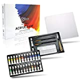 Acrylic Paint Set by Articue - 26x12ml Tubes with FREE 3 Brushes,2 EXTRA Paints,a Palette,Art Knife & Canvas Panel.Rich Pigment.Complete Starter Canvas Painting Kit For Kids,Beginners,Adults & Artists