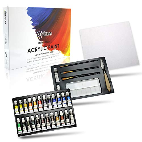 Acrylic Paint Set by Articue - 26x12ml Tubes with FREE 3 Brushes,2 EXTRA Paints,a Palette,Art Knife & Canvas Panel.Rich Pigment.Complete Starter Canvas Painting Kit For Kids,Beginners,Adults & ()