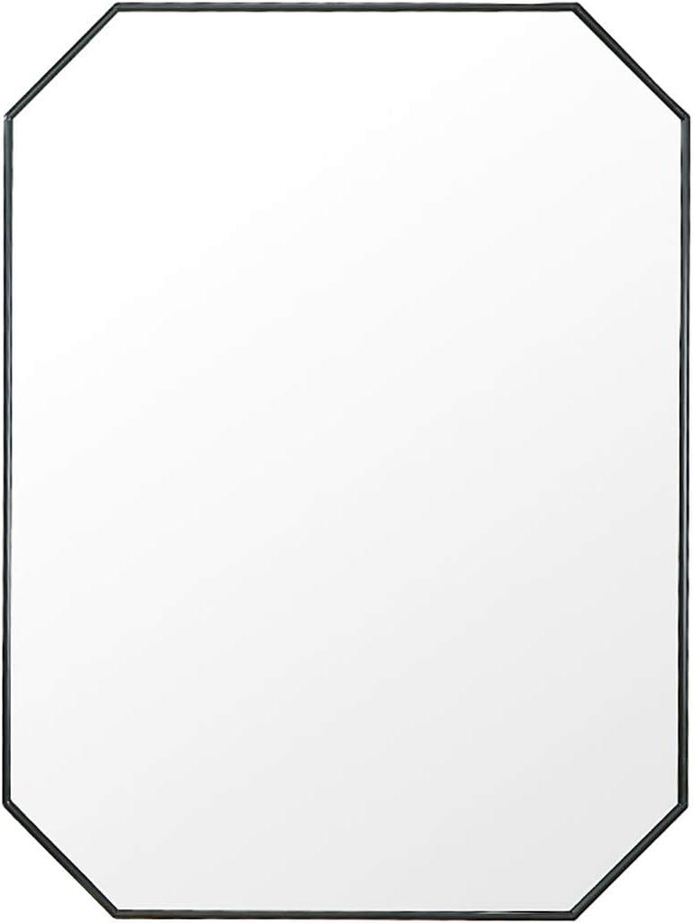 Mirrors Bathroom, Metal Framed Wall-Mounted Vanity for Bathroom or Living Room 60x80cm (Color : Black)