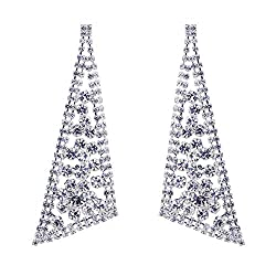 Style D-Silver Plated Crystal Rhinestone Chandelier Dangle Earring