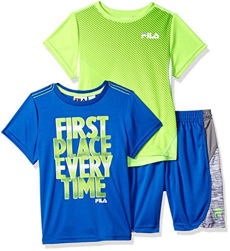 Fila Little Boys' 3 Piece Athletic Set, Prince Blue/Electric Lime, (Prince Set)