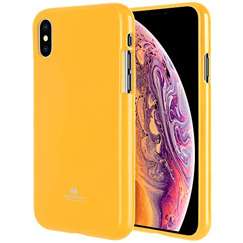 iPhone Xs Max Case [Slim Fit] GOOSPERY [Lightweight] Pearl Jelly [Flexible] Rubber TPU Case [Soft Glitter] Bumper Cover [Protection] for Apple iPhone Xs Max (Yellow) IPXSP-JEL-YEL