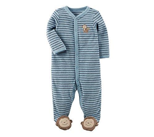 Carter's Baby Boys One Piece Striped Monkey Footie Sleeper 6 Months