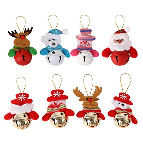 (FEOYA Christmas Tree Decorations Ornaments 8 Pcs Cute Bells Snowman Old ma Bear elk)