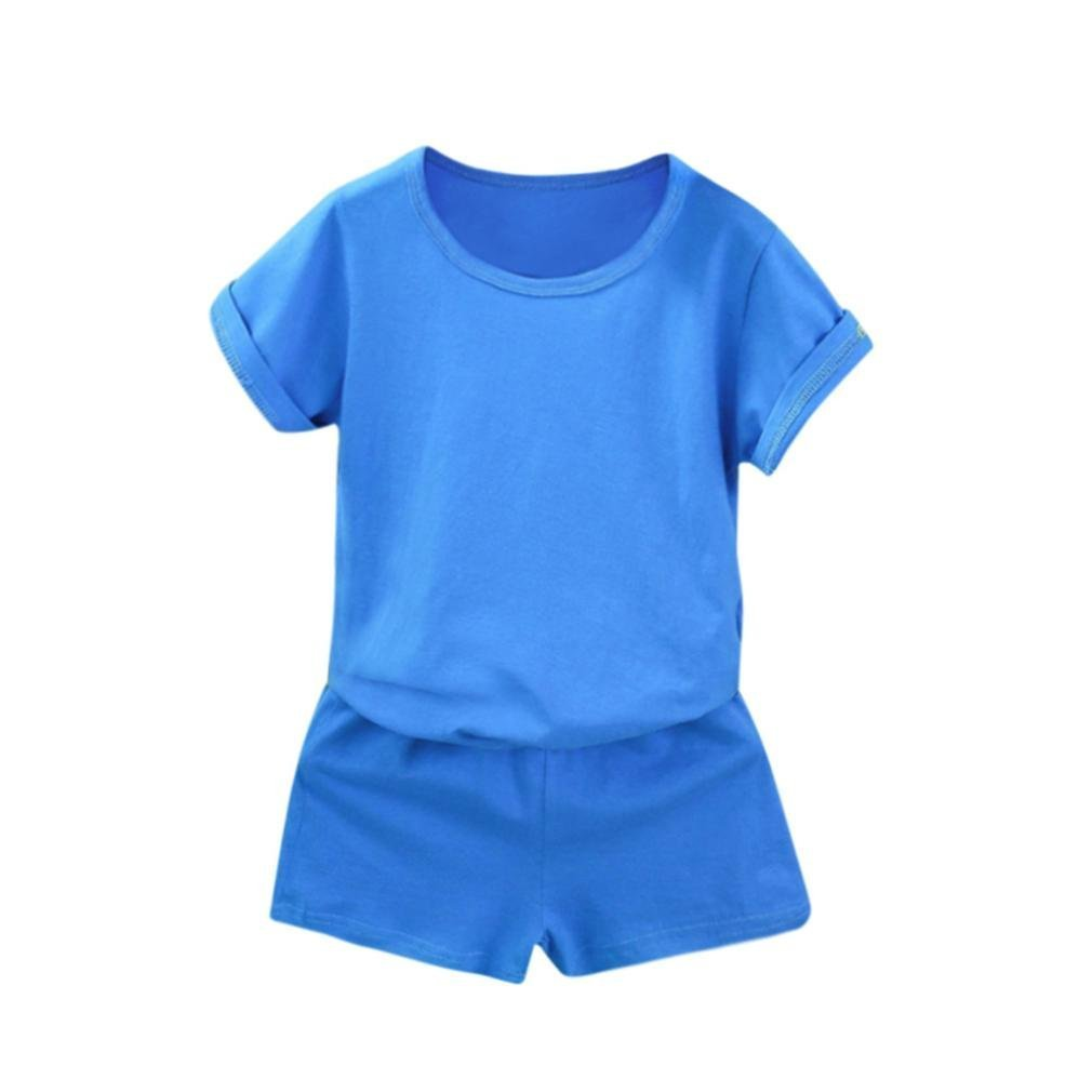 2Pcs Clothes Little Boy Girl Summer Casual Solid Short Sleeve Sports Tops Cotton T-Shirt Shorts Sets