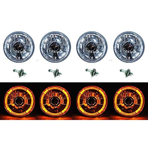 OCTANE LIGHTING 5-3/4 Amber Led Halo Halogen Light Bulb Headlight Angel Eye Crystal Clear Set